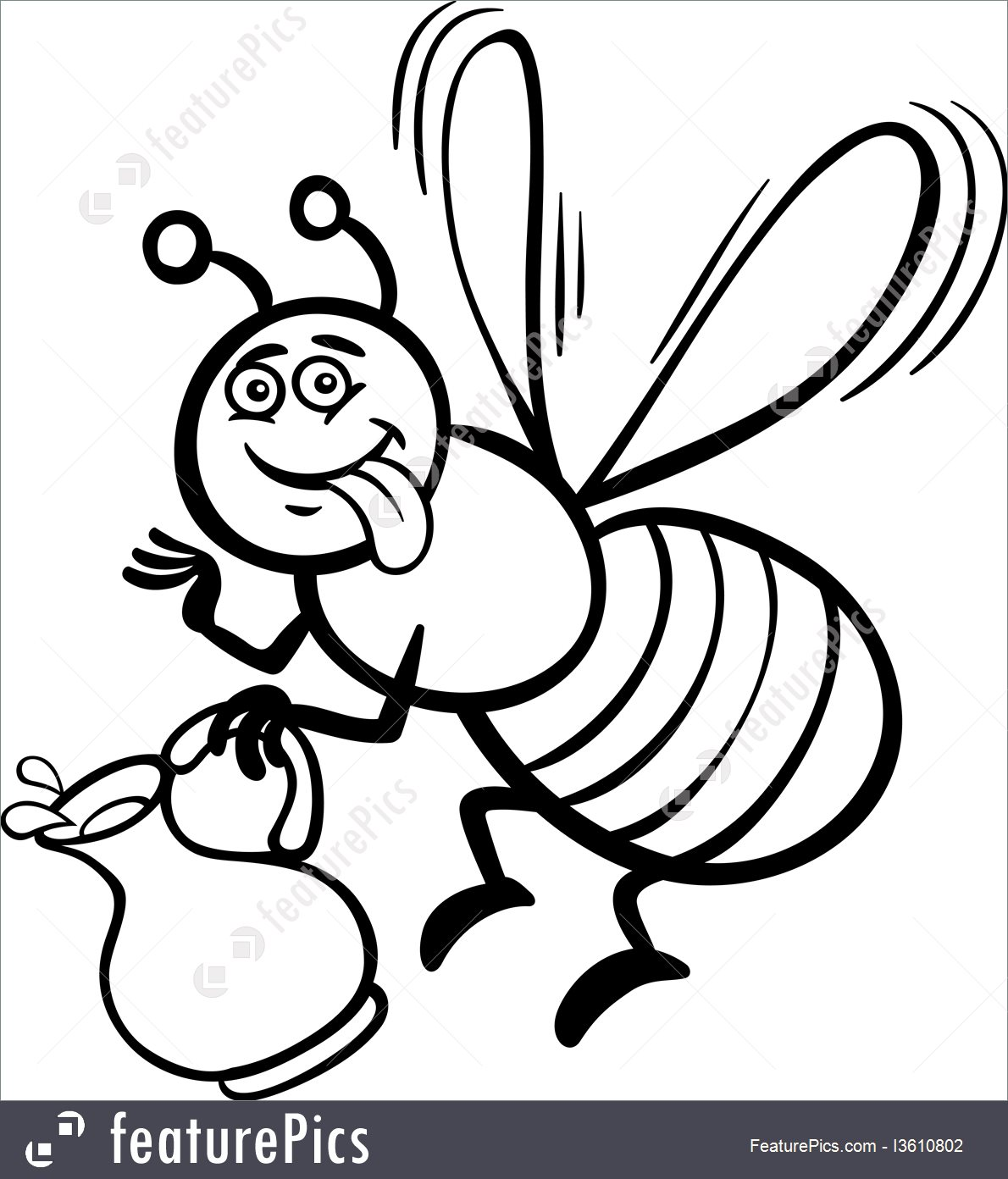 1190x1392 Honey Bee Cartoon For Coloring Book Illustration