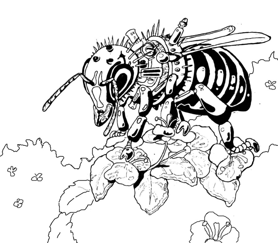 900x789 Robot Honey Bee By Baroque Gothic
