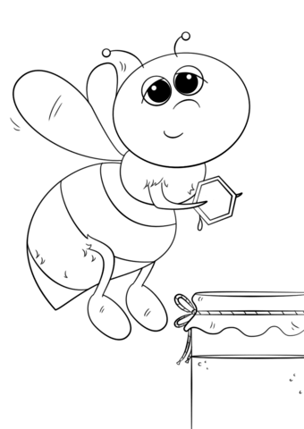 340x480 Cartoon Honey Bee Coloring Page Free Printable Coloring Pages