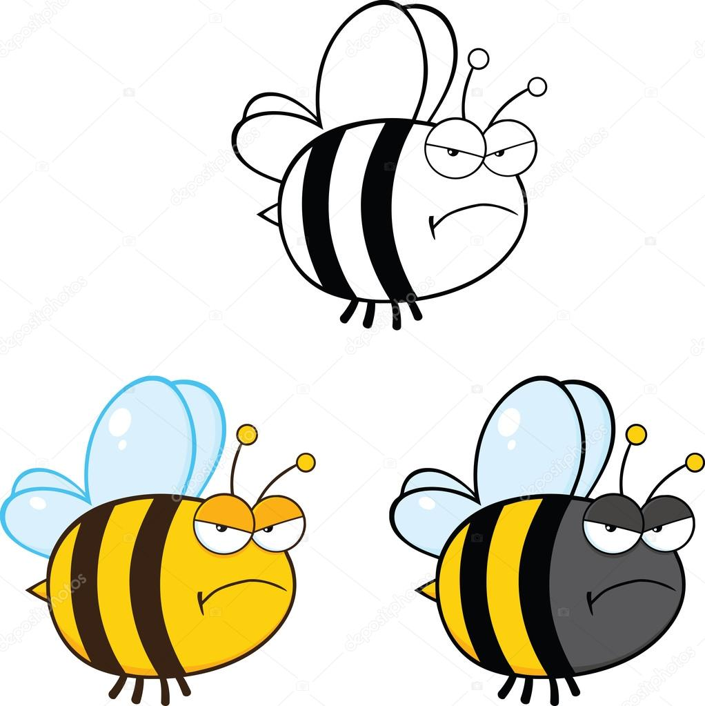 1022x1023 Cute Bee Cartoon Characters. Set Collection 2 Stock Photo