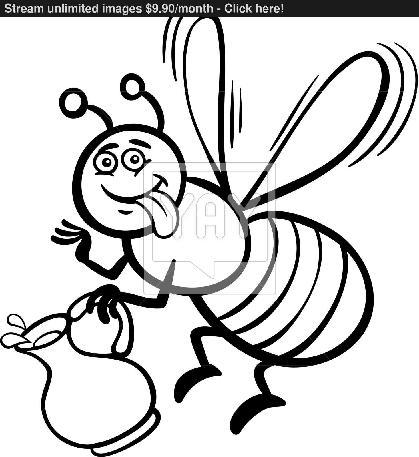 1466x1600 Honey Bee Cartoon For Coloring Book Vector