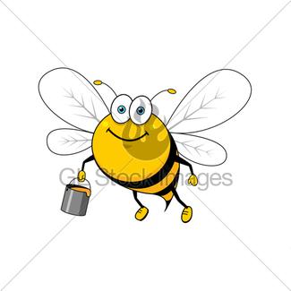 325x325 Cartoon Flying Bee With Honey Bucket Waving Hand Gl Stock Images