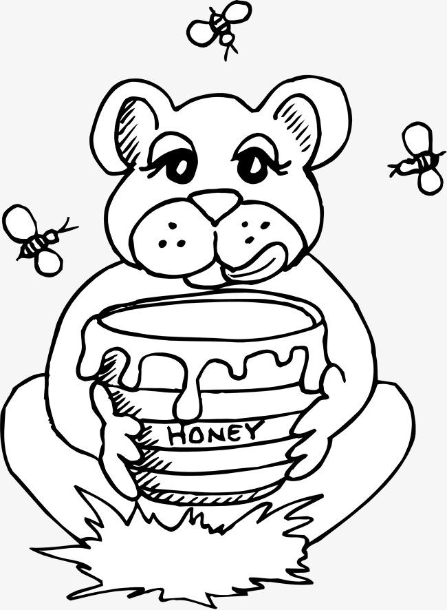 650x886 Cartoon Cubs Eat Honey Line Chart, Bee Line Chart, Bear Line Chart