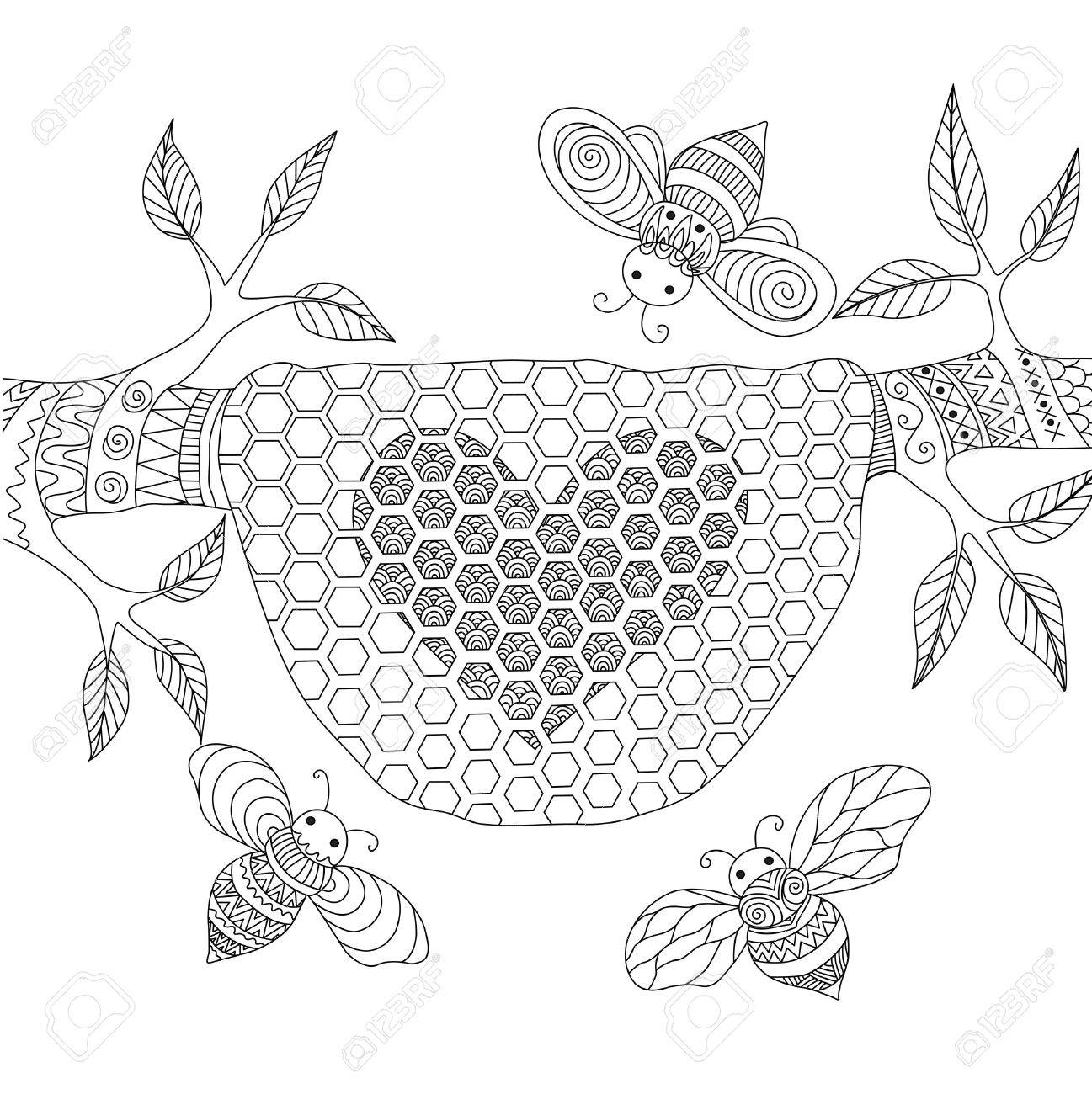 1297x1300 Line Art Design Of Honey Bees Flying Around Beehive For Coloring