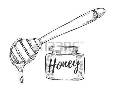 450x369 Honey Stick Freehand Pencil Drawing Isolated On White Background