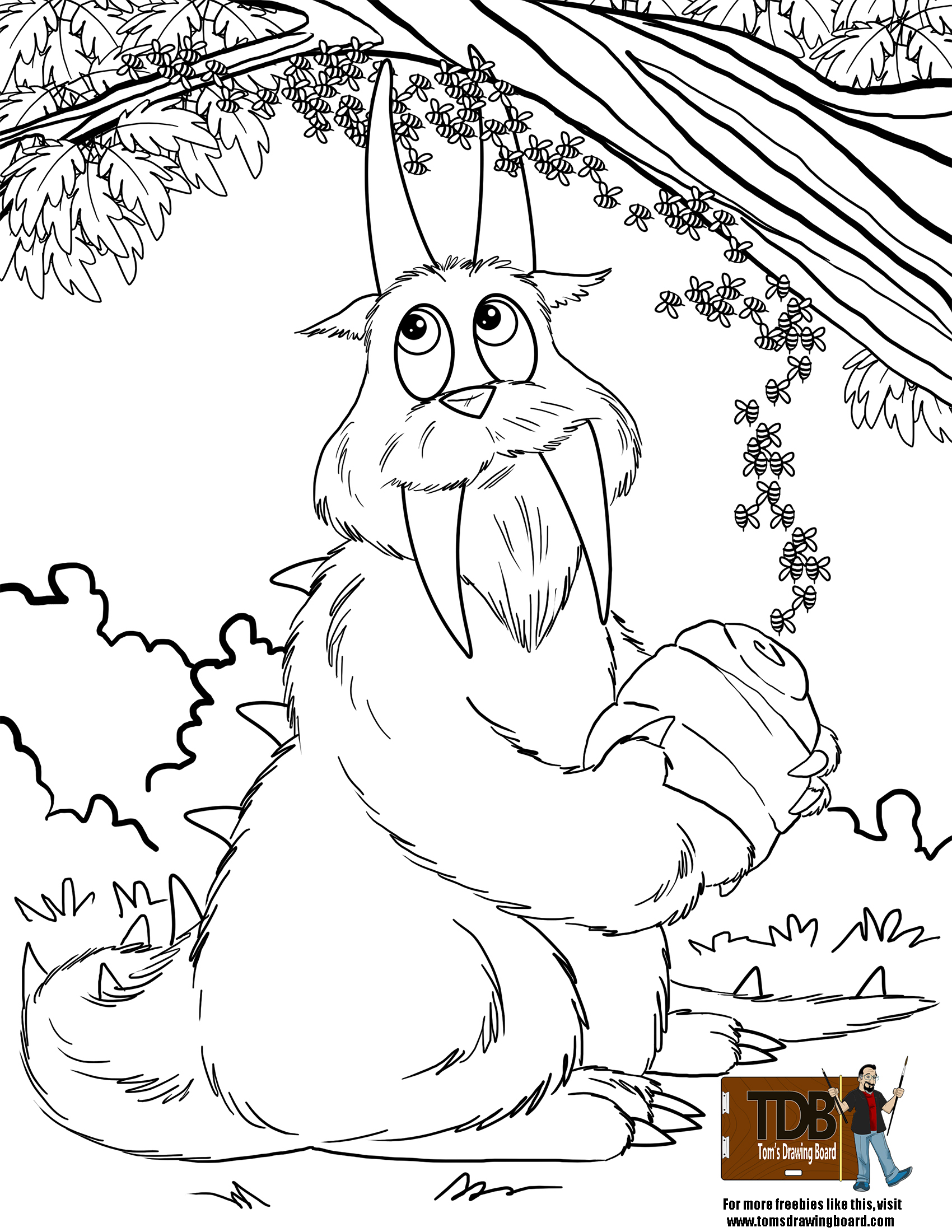 1700x2200 Silly Hodag Coloring Page With Honey Bees