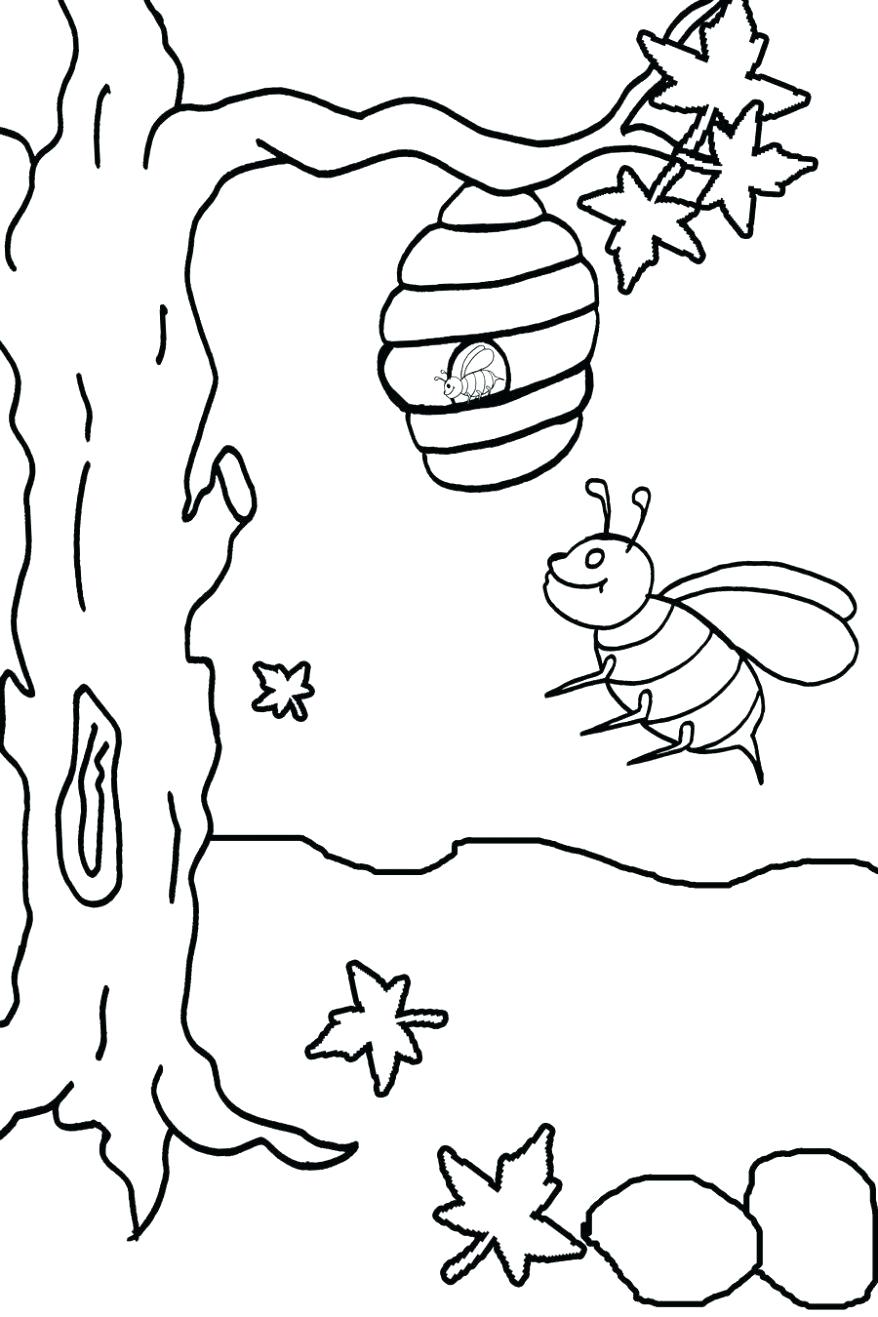 878x1317 Coloring Honey Coloring Page Basic Fly Bee To Drawing Bumble