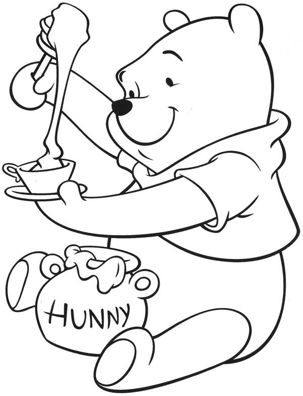 600x783 Honey, Winnie The Pooh Enjoying Tea With Honey Coloring Page