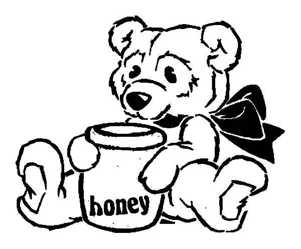 600x497 Honey Bear Sitting With Honey Pot Coloring Pages Honey Bear