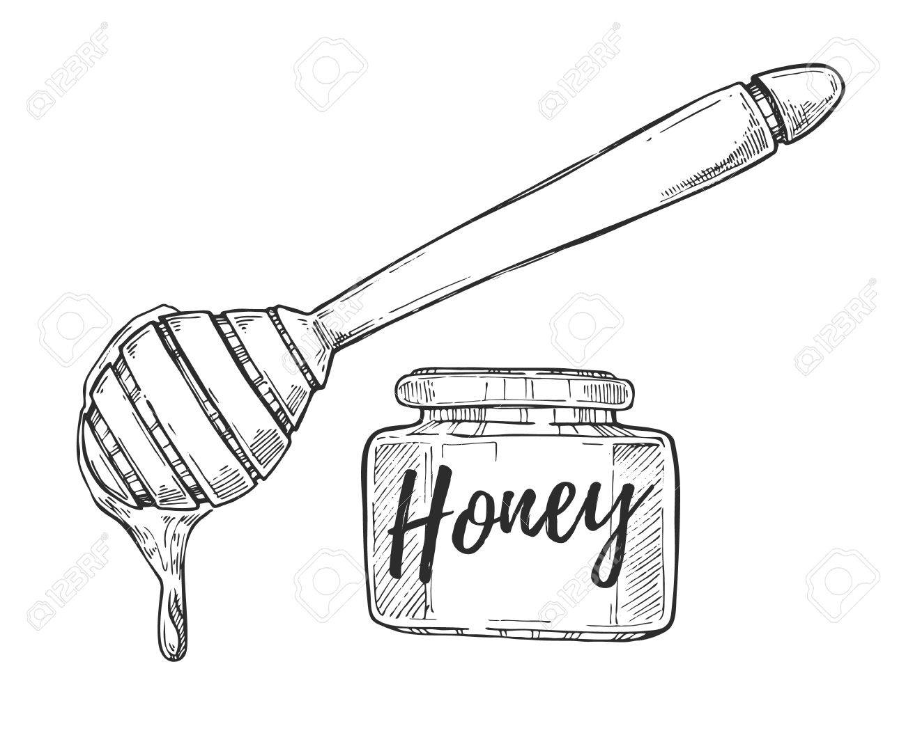 1300x1066 Honey Jar And Stick Freehand Pencil Drawing Isolated On White
