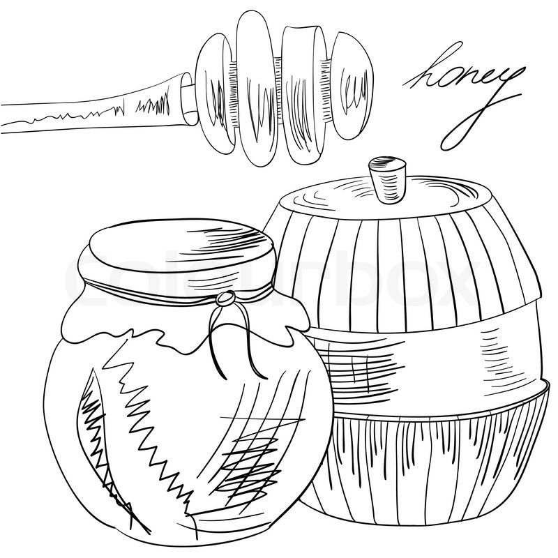 800x800 Sketch With Glass Jar Full Of Honey And Stick Stock Vector