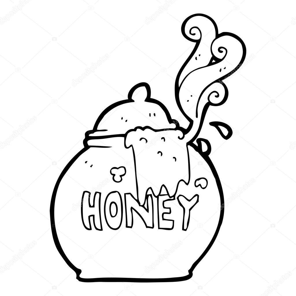 1024x1024 Black And White Cartoon Honey Pot Stock Vector Lineartestpilot