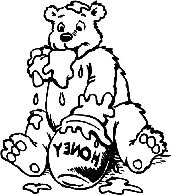 600x686 Honey Bear Hug Honey Pot Coloring Pages Coloring Sky