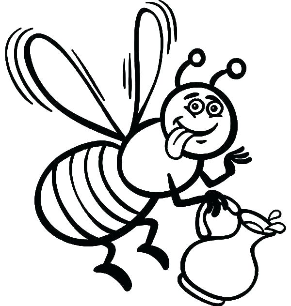 600x632 Coloring Page Bee Cartoon Bee Flower A Page To Print Out