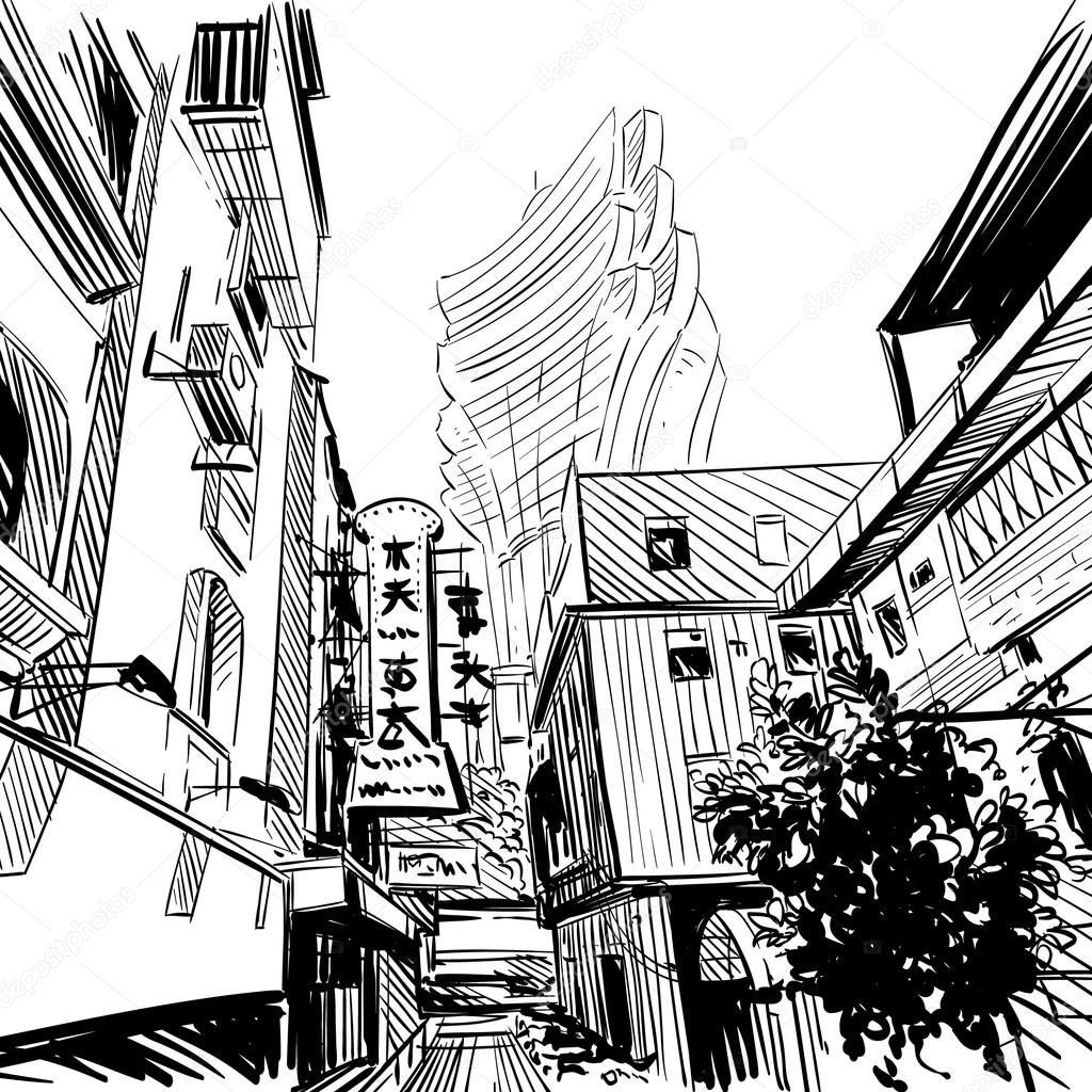 1024x1024 Hand Drawn China City Sketch, Banner Design. Vector Illustration
