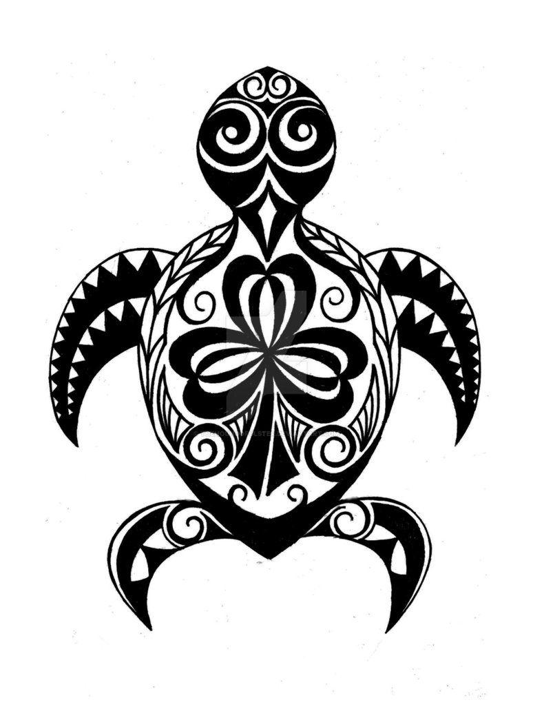 774x1032 Hawaiian Turtle (Honu) With Irish Shamrock Tattoo By
