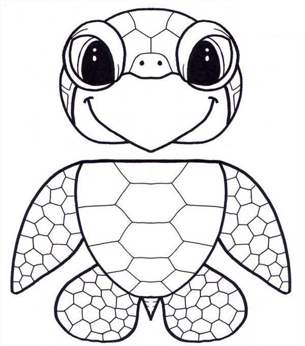 600x680 Puppet Honu Sea Turtle Free Coloring Sheet