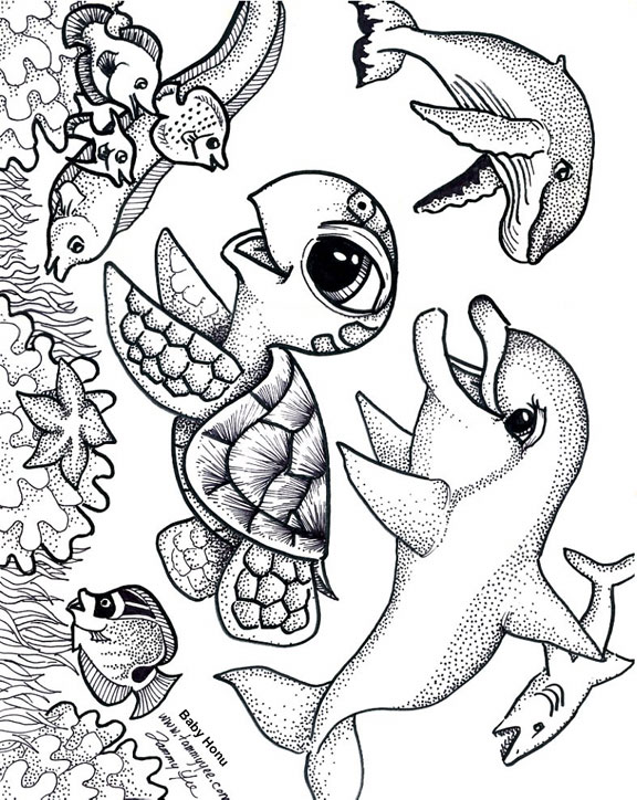 576x724 Baby Honu And Friends Coloring Page