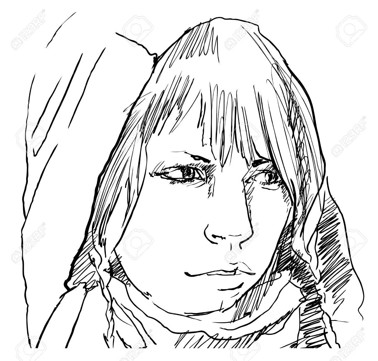 1300x1242 Woman In Hood Pencil Drawing, Vector Royalty Free Cliparts