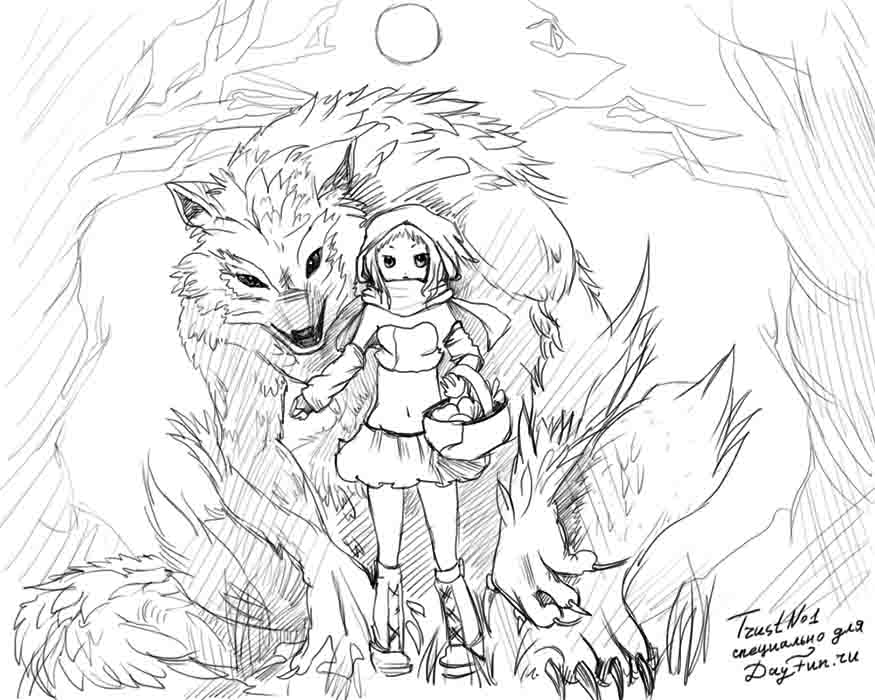 875x700 How To Draw A Little Red Riding Hood Step By Step