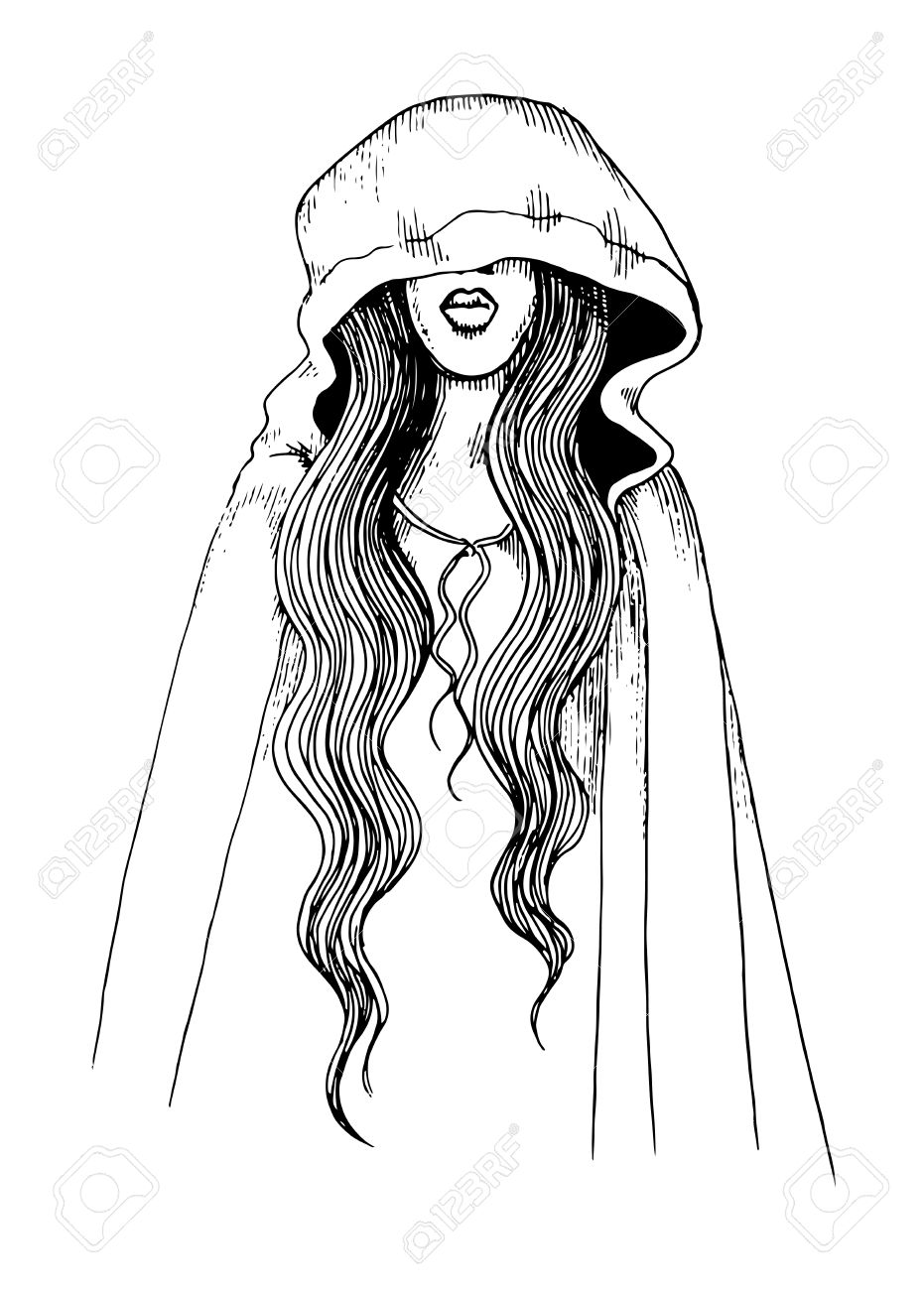 931x1300 Ink Pen Illustration Of A Girl In Hood Royalty Free Cliparts