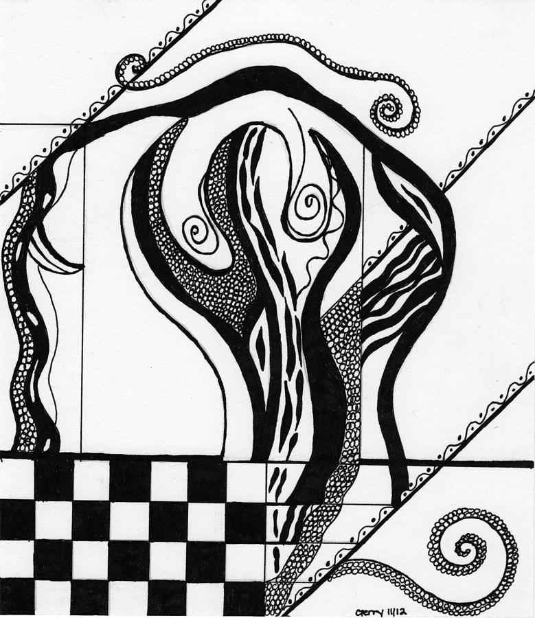 779x900 Abstract Figure In Black And White 2 Drawing By Christine Perry