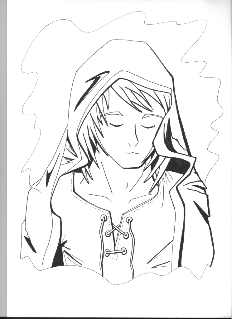 744x1024 Days 57 And 58 Hooded Manga Man Watercolour Vs Digital Colour