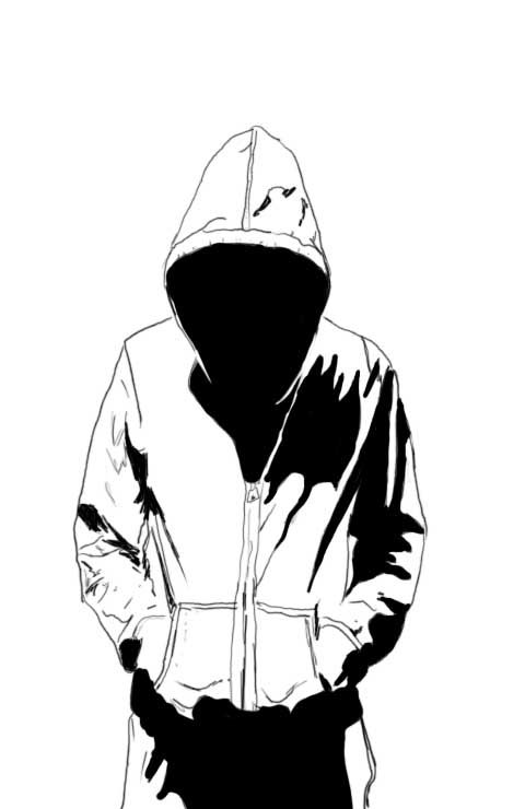 480x740 Hooded Person Comic Art Sketch