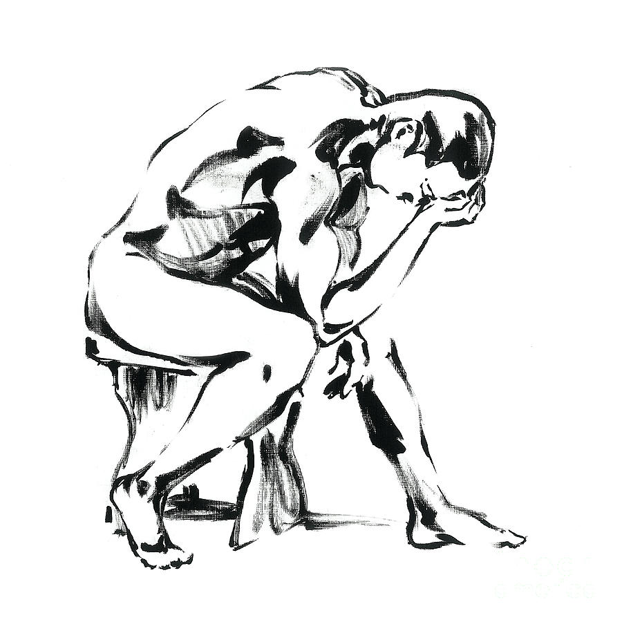900x900 The Thinker Drawing By Konstantin Boreo