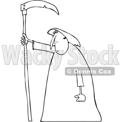 400x400 Clipart Of Cartoon Blacknd White Hooded Grim Reaper Man