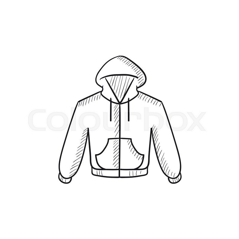 800x800 Hoodie Vector Sketch Icon Isolated On Background. Hand Drawn
