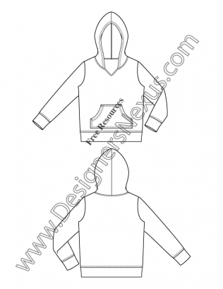 316x409 V20 Kangaroo Pocket Hoodie Kids Flat Fashion Sketch