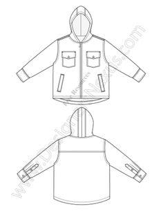 236x305 V3 Knit Hoodie Illustrator Fashion Technical Drawing