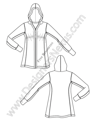 316x409 V3 Knit Hoodie Illustrator Fashion Technical Drawing