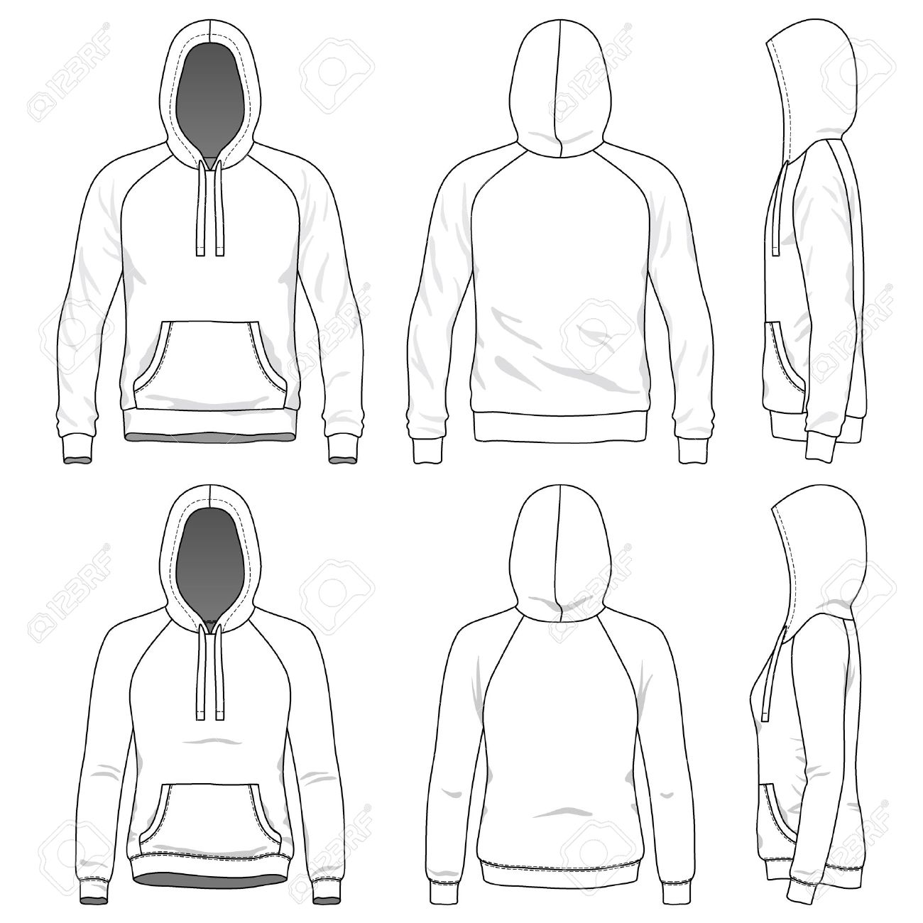 1300x1300 Blank Men's And Women's Raglan Hoodies In Front, Back And Side