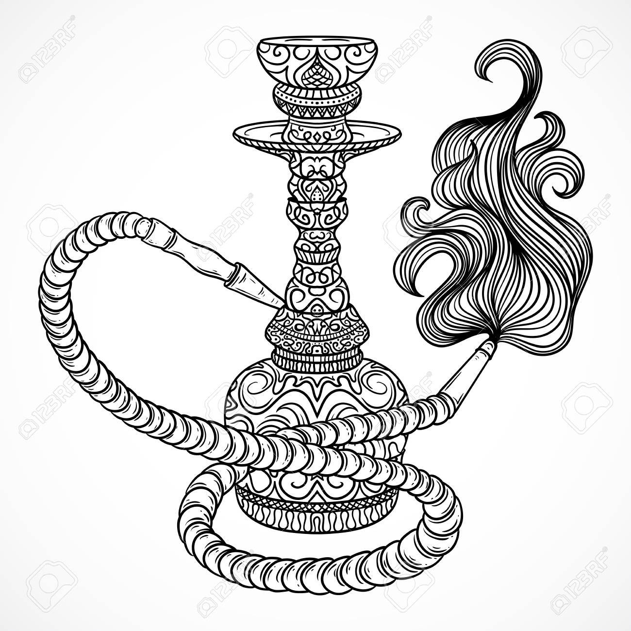 1300x1300 Hookah With Oriental Ornament And Smoke.vintage Vector Hand Drawn