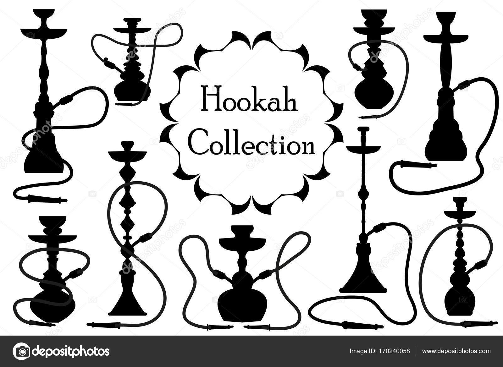 1600x1168 Hookah Icon Set Black Silhouette, Outline Style. Arabic Hookahs