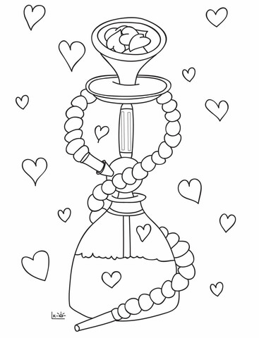367x480 Hookah With Hearts Coloring Page Free Printable Coloring Pages