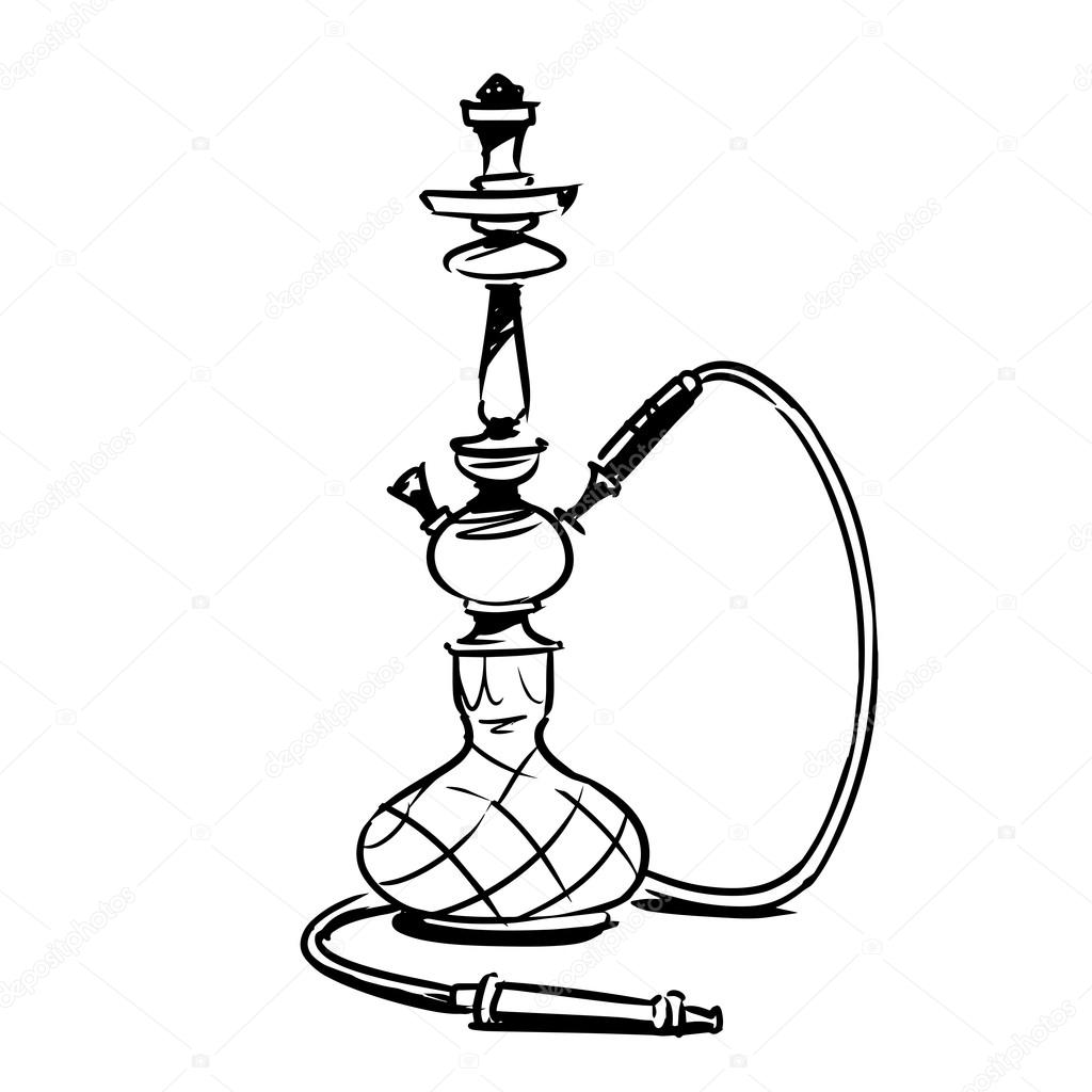 1024x1024 Hookah Sketch Illustration Stock Vector Natashin