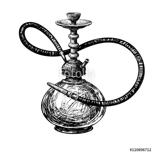 500x500 Hookah Vector Silhouettes.vector Drawing Stock Image And Royalty