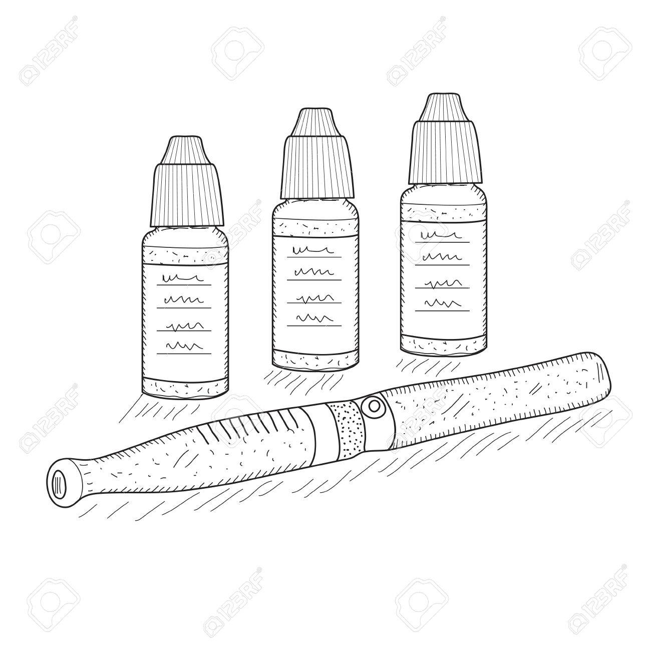 1300x1300 Electronic Cigarettes Sketch, Hand Drawing Style. Pocket Hookah