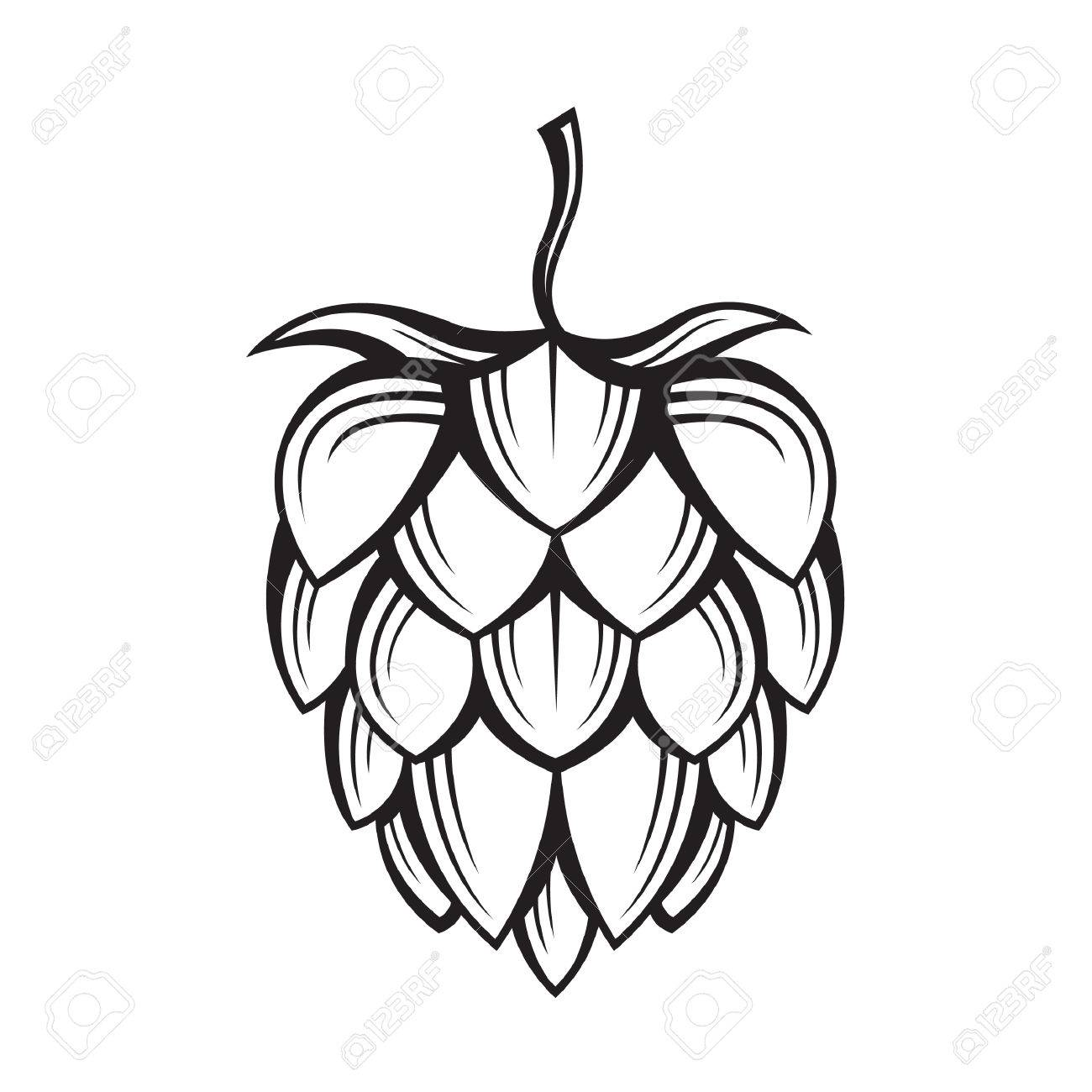 1300x1300 Black Illustration Of Hop For Brewing Royalty Free Cliparts