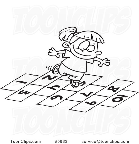 581x600 Cartoon Black And White Line Drawing Of A Girl Playing Hop Scotch