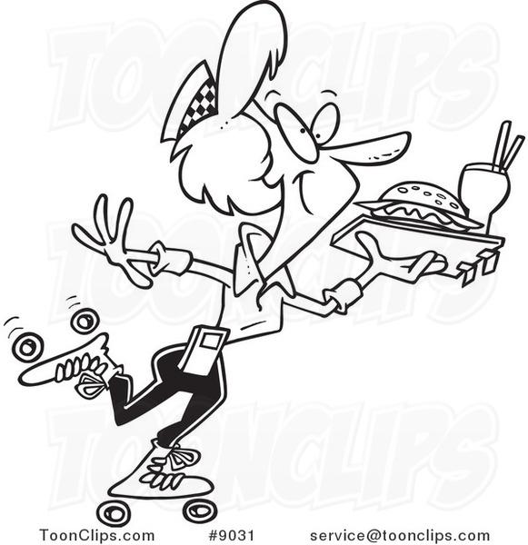 581x600 Cartoon Black And White Line Drawing Of A Skating Car Hop Waitress