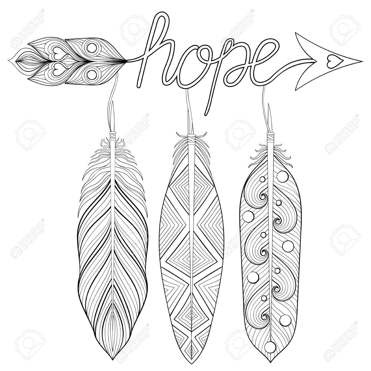 1300x1300 Bohemian Arrow, Hand Drawn Amulet With Letters Hope, With Feather
