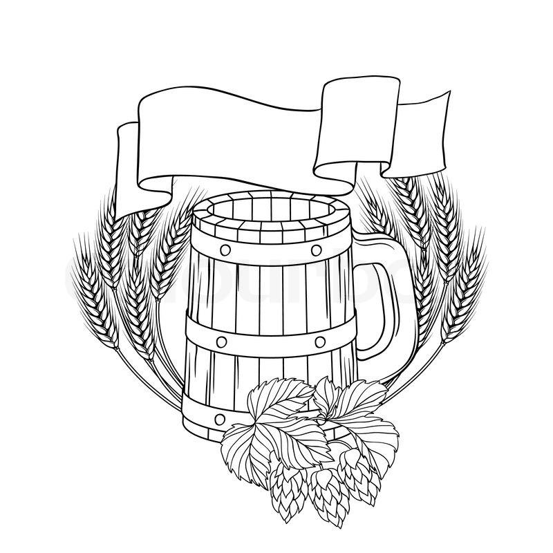 800x800 Vector Illustration Of A Barrel, Mug, Wheat, Hops Stock Vector