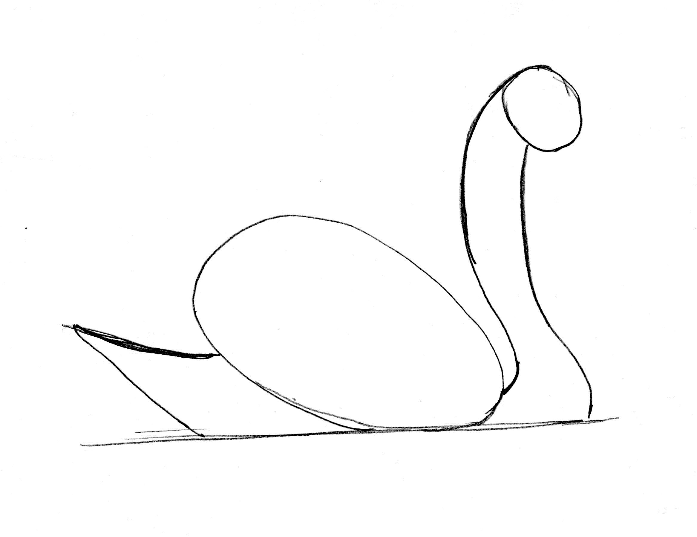 2333x1796 Swan Drawing Step By Step
