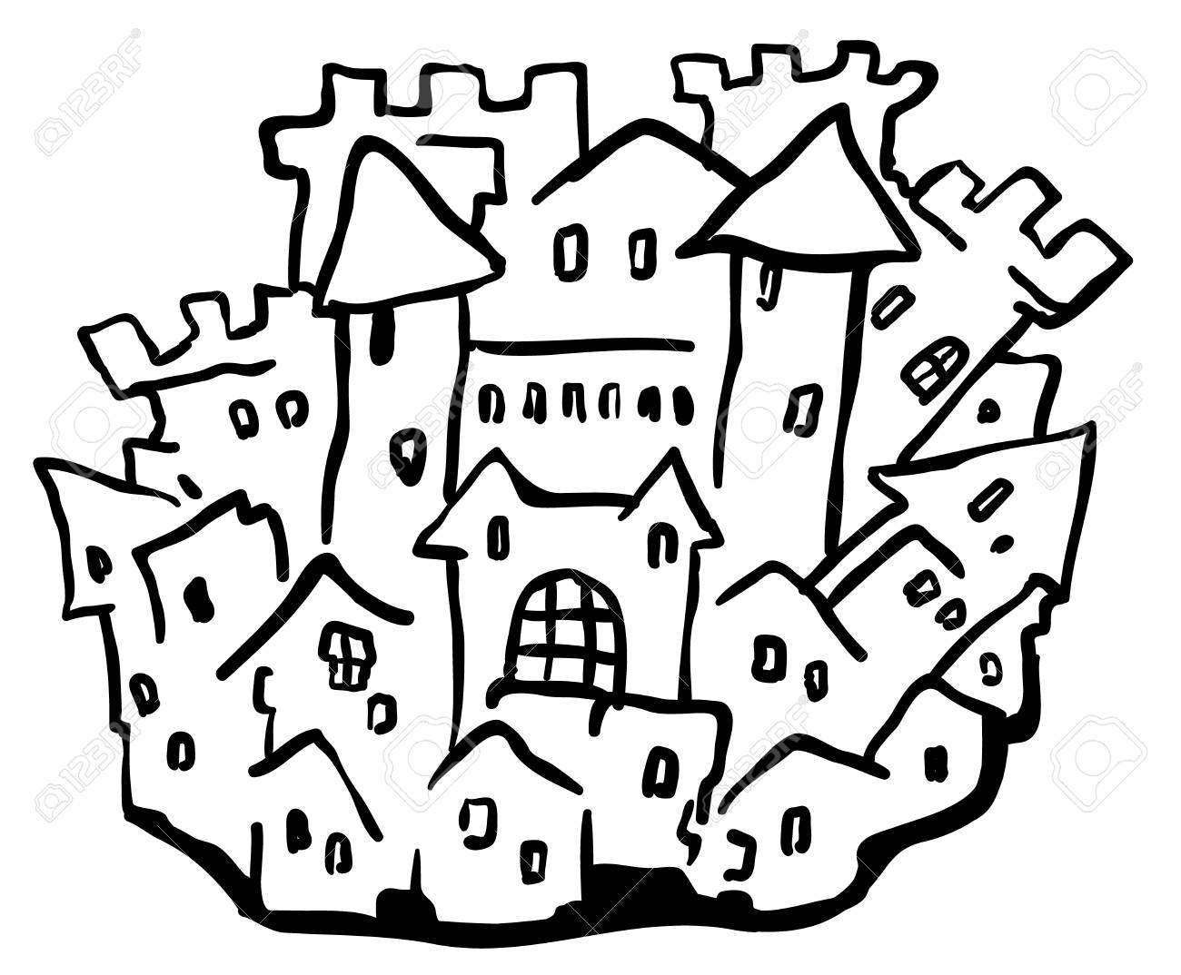 1300x1074 Small Castle Town Cartoon Line Drawing, Horizontal, Vector