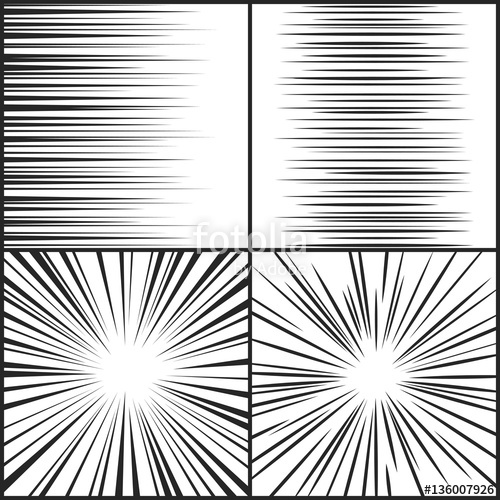500x500 Speed Lines, Motion Strip Manga Comic Horizontal And Radial Effect
