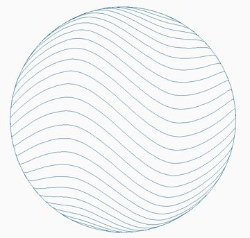 360x343 Sphere Crosshatch Wave Horizontal Lines With Outside Circle